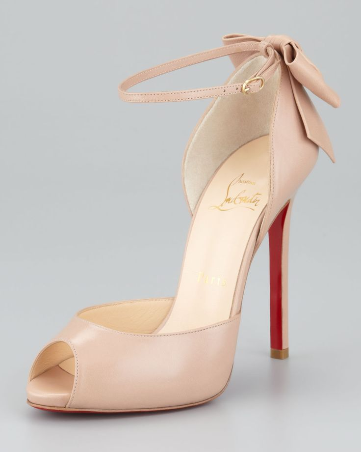 Christian Louboutin Dos Noeud Peep-Toe Ankle Wrap Red Sole Pump, Nude - Neiman Marcus