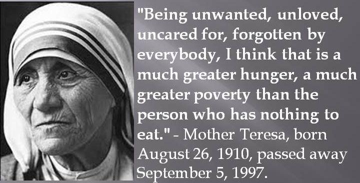 Mother Teresa, born August 26, 1910, passed away September 5, 1997. #MotherTeresa #Quotes #AugustBirthdays