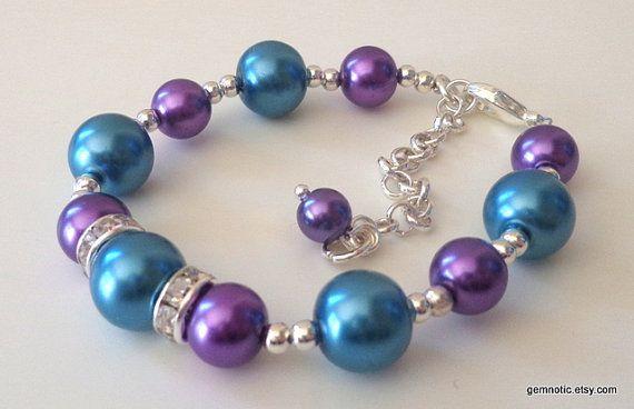 Teal and purple bridesmaid jewelry set, peacock wedding jewelry, bridesmaid gift set,wedding jewelry via Etsy