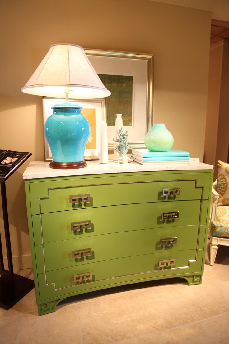 Navy greek key rug transitional entrance foyer libby langdon - Green Greek Key Dresser By Oscar De La Renta For Century Furniture