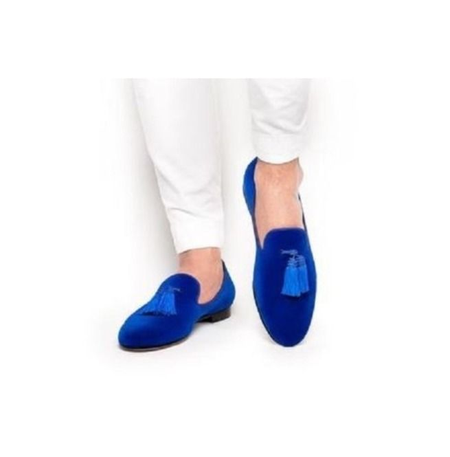 Mens Handmade Suede Leather Royal Blue Shoes Loafer Formal Style Leather Sole