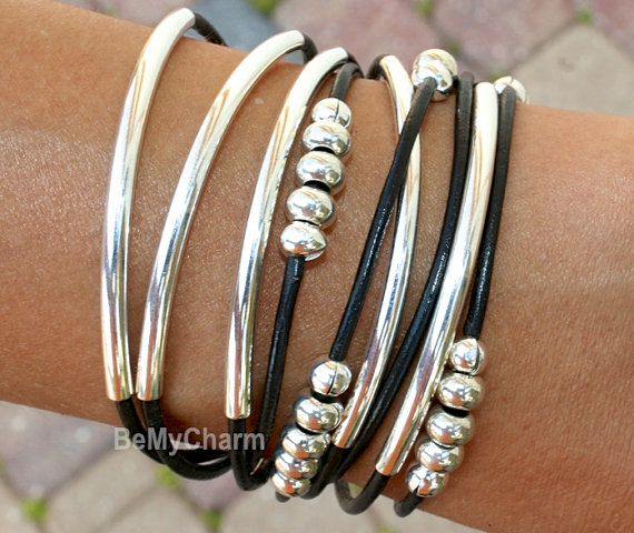 Accurately Measure Your Wrist - then choose size from dropdown menu.    THIS LISTING IS FOR: PICTURE #1 - One Triple wrap leather tube /bead accent