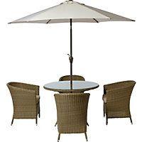 Worcester 4 Seater Rattan Effect Garden Furniture Set