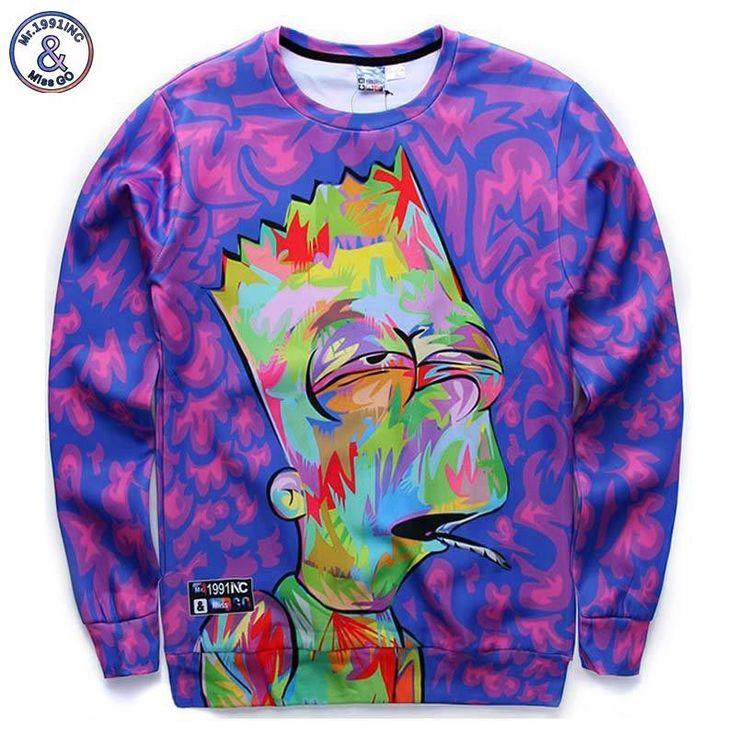 Stoned Bart Sweatshirt  Faded Bart Art Print Sweatshirt Polyester, Spandex