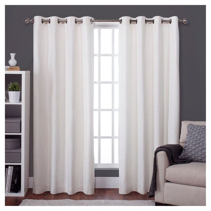 """Raw Silk Thermal Room Darkening Window Curtain Panel Pair Off - White (52""""x108"""") - Exclusive Home, Off White"""