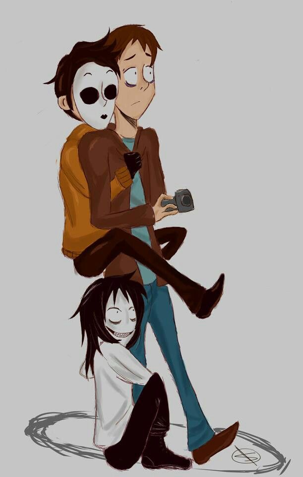 Jeff the Killer, Masky (Tim), an I believe it's Jay from Marble Hornets
