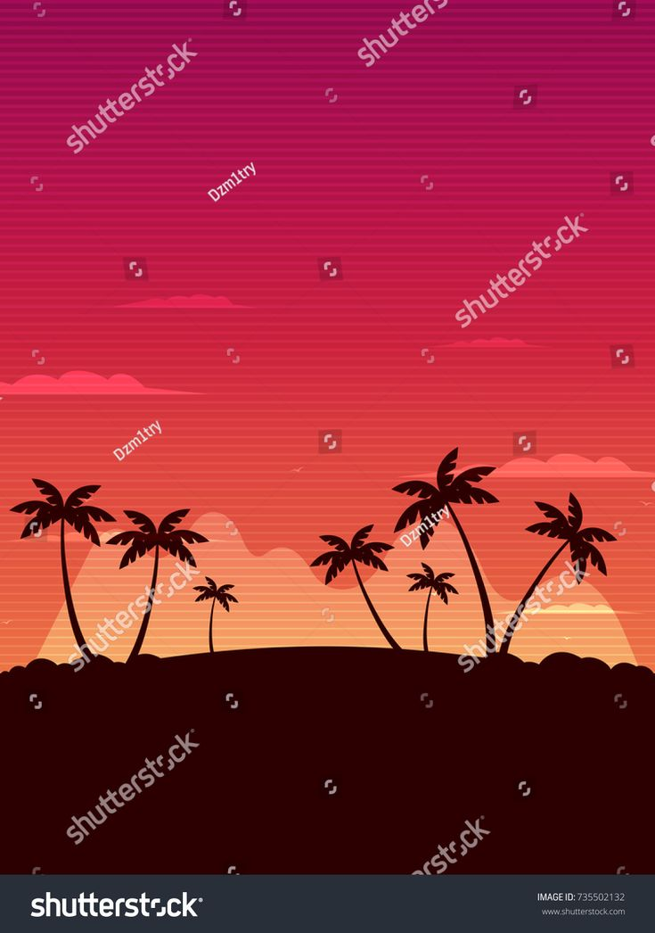 Retro tropical landscape with palms. Vector illustration