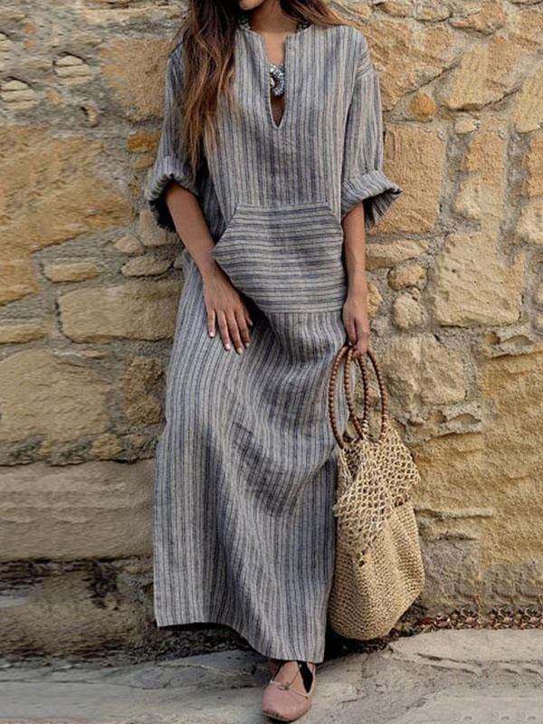 Grey Cotton Long Striped Dress with Rolled Up Sleeves – rrdeye
