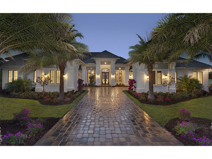 Mediterranean-Modern Home Plan with 4817 Square Feet and 4 Bedrooms from Dream Home Source | House Plan Code DHSW077696