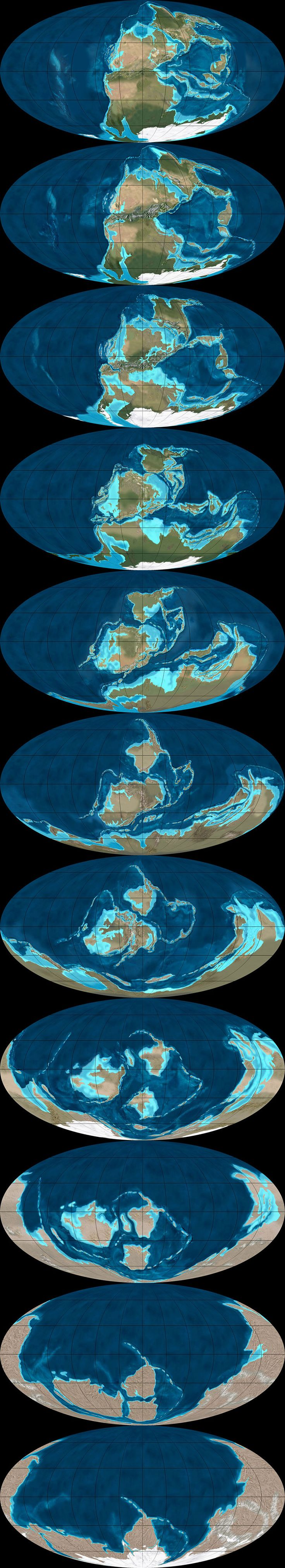 This final of the three global sequences shows the continents drifting apart, in reverse, from 260 million years ago to 600 million years ago. There was still nearly 4 billion years of tectonic evolution prior to where these maps begin. They were mapped using the Mollweide projection, and, in all cases, are by Ron Blakey.