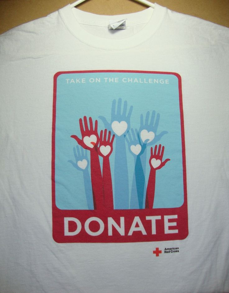 American red cross donate t shirt adult size large blood for Shirts that donate to charity