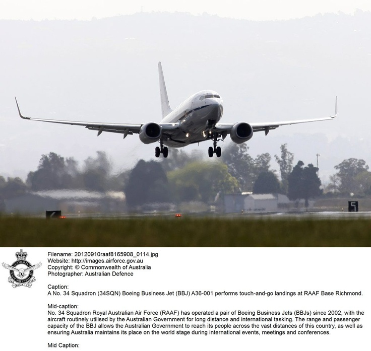 20120910raaf8165908_0114.JPG    A No. 34 Squadron (34SQN) Boeing Busness Jet (BBJ) A36-001 performs touch-and-go landings at RAAF Base Richmond.   © Commonwealth of Australia
