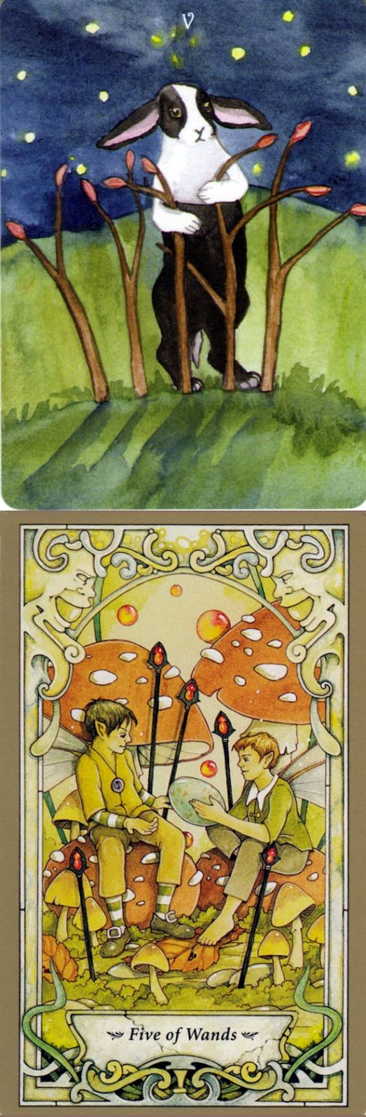 Five of Wands: battle between rivals and avoiding a potentially beneficial conflict (reverse). Rabbit Tarot deck and Mystic Faerie Tarot deck: tarot cards prediction, fall taroot and taro tea. Best 2017 wicca for beginners and fortune telling cards. #cups # #tarotspreads #android