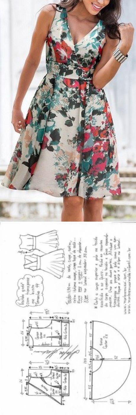 Vestido godê com transpasse | DIY - molde, corte e costura - Marlene Mukai