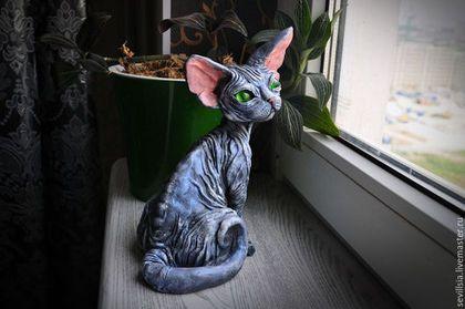 Купить Сфинкс Энзо - ярко-зеленый, кот, кошка, Сфинкс, донской сфинкс, канадский сфинкс