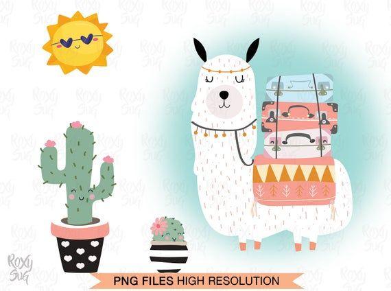 Summer Llama Clipart Llama Clipart Cute Llama Llama Clip Art Cactus Clipart Sun Clipart Cute Cactus Png Files Llama Clipart Cactus Clipart Clip Art