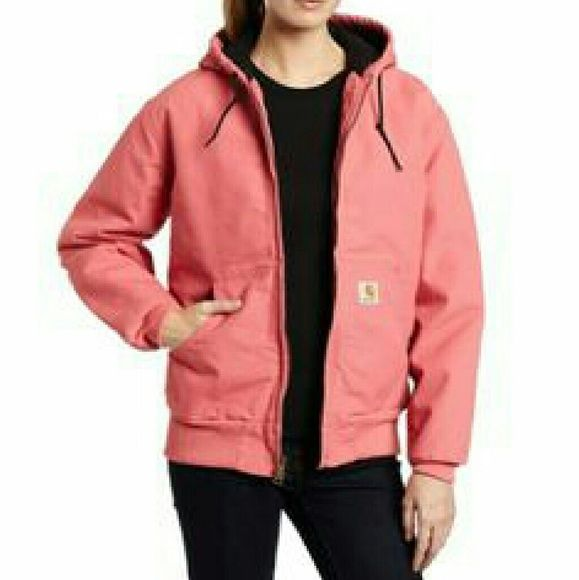 Pink womens Carhartt jacket Rose (not available for sale in this color anymore) colored women's Carhartt jacket. Worn 3-4 times over 3 years. Does not fit me. Women's size medium, super comfortable. Two pocket are located in the inner breast, one with Velcro, and one with a zipper. Both will keep your phone, keys, gloves, anything you need, safe. This is a Sandstone model jacket, lined in black. I paid $89 and I am asking $75 or best reasonable offer. carhartt  Jackets & Coats