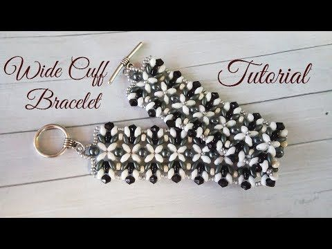 Wide Cuff bracelet with superduos ~ Seed Bead Tutorials