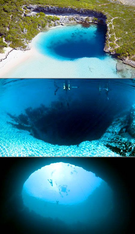 Deans Blue Hole in the Bahamas. Currently the worlds deepest sea-hole at 663-feet, it's almost twice as deep as any of the other Blue Holes in the Caribbean that were formed when limestone chambers caved in from above.