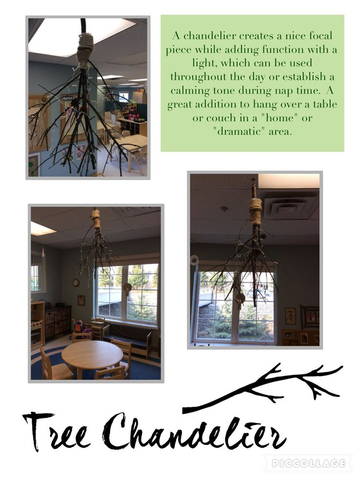 Trillium Child Care Centre: Chandelier made out of a tree branch in the Preschool Home Area.