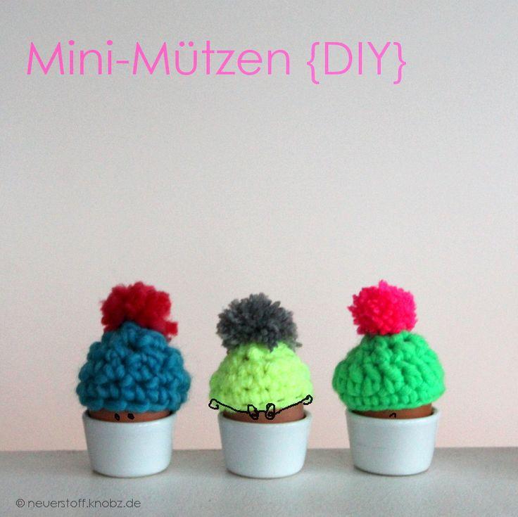 Mini-Mützen häkeln für Osterei DIY Anleitung - mini beanie crochet tutorial for easter egg