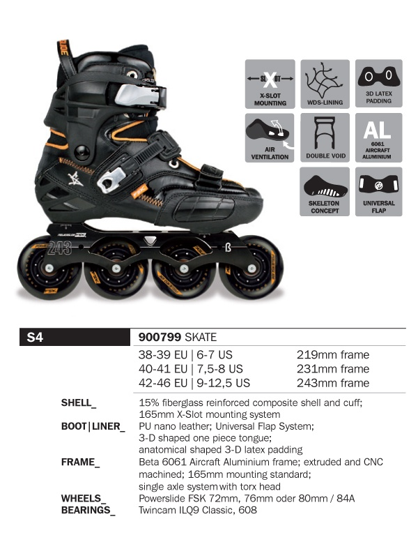 Powerslide 2012/13 S4 freestyle skates - Usual $599, now with 10% off at $549.10