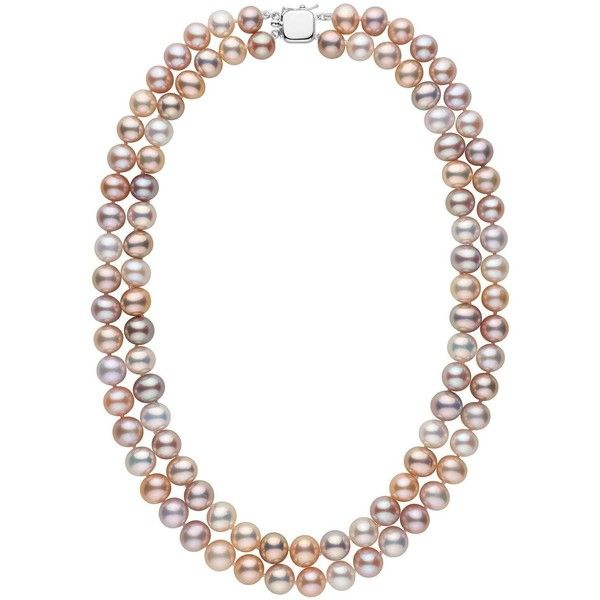 Double Strand 8.5-9.0 mm AA+ Multicolor Freshwater Pearl Necklace ($598) ❤ liked on Polyvore featuring jewelry, necklaces, multicolor freshwater pearl necklace, multi coloured necklace, knot jewelry, 14k necklace and tri color necklace