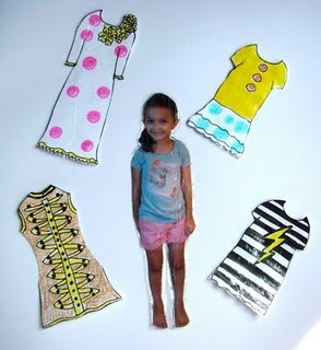 Okay, so this was recommeded to do using a laminated picture of your kid so you could teach them clothing vocabulary words (lame!).  It would be way cooler to have a Paper Doll of yourself that you could dress up! Try before you buy... see what you look like in outfits first.