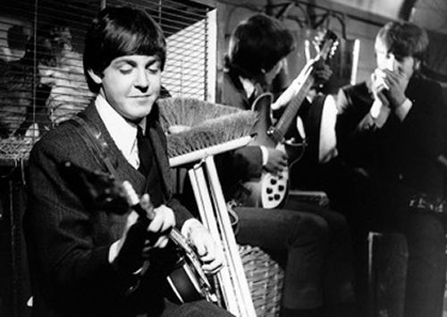 """11th March 1964. The Beatles film """"I Should Have Known Better"""" at Twickenham Studios."""