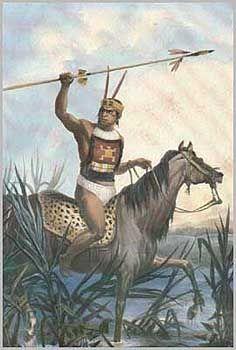 """""""Guerreiro Indígena a Cavalo"""". (by Jean-Baptiste Debret)."""