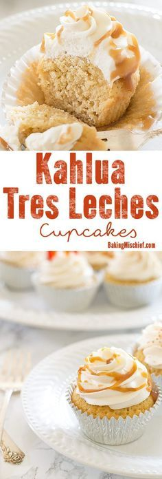 Classic Tres Leches cupcakes with a boozy Kahlua twist. An easy and delicious recipe just in time for Cinco de Mayo. Recipe includes nutritional information plus small-batch and non-alcoholic instructions. From BakingMischief.com:
