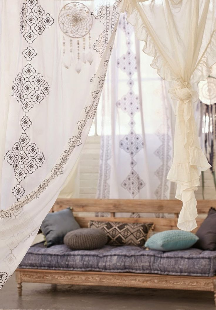 boho sitting area. Love love love those voile curtains