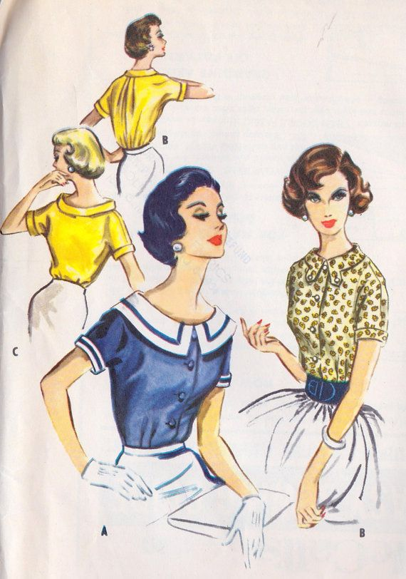 1950s Misses Blouse Vintage Sewing Pattern