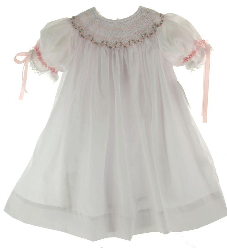Infant Girls White Smocked Bishop Dress & Slip - Royal ...