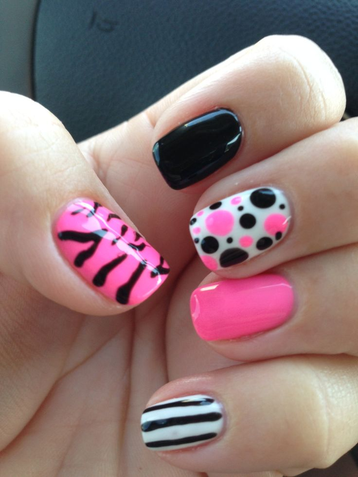 Gel Polish nail art hot pink, black, and white