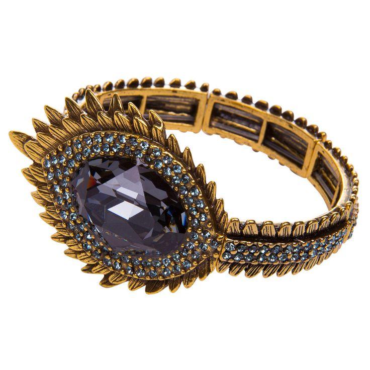 Peacock Silver Statement Bracelet