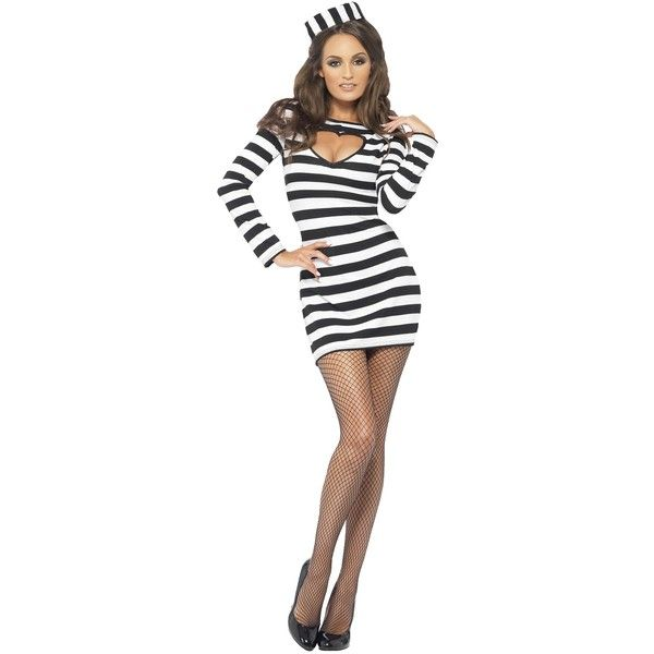 Women's Sexy Convict Costume ($29) ❤ liked on Polyvore featuring costumes…