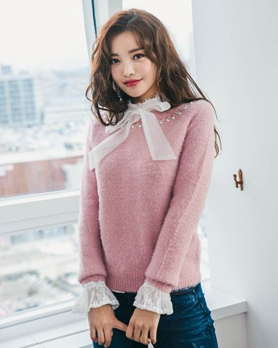 Embellished Neck Fuzzy Sweater CHLO.D.MANON   #pink #fuzzy #cute #sweater #koreanfashion #kstyle #kfashion #dailylook