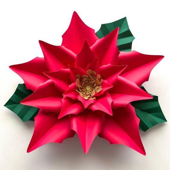 Pdf Christmas New Poinsettia Paper Flowers Digital Version Ori By Thecraftysagannie Via Etsy Paper Flowers Paper Flower Template Paper Flowers Diy