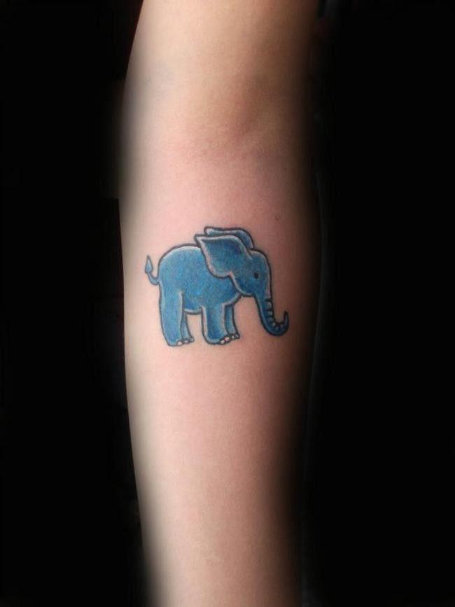 Cute blue baby elephant watercolor Tattoo on forearm