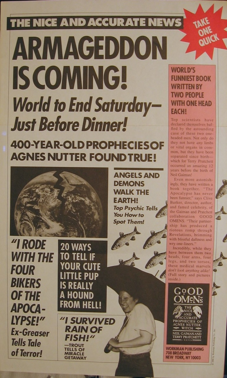 Ad for Good Omens in rag newspaper style Discworld