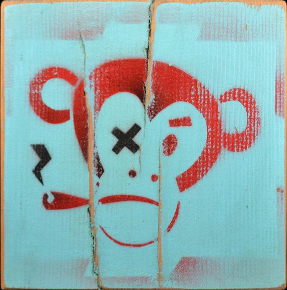 Smoking Monkey Graffiti Street Art Painting Cigar by Tabooisland, $25.00
