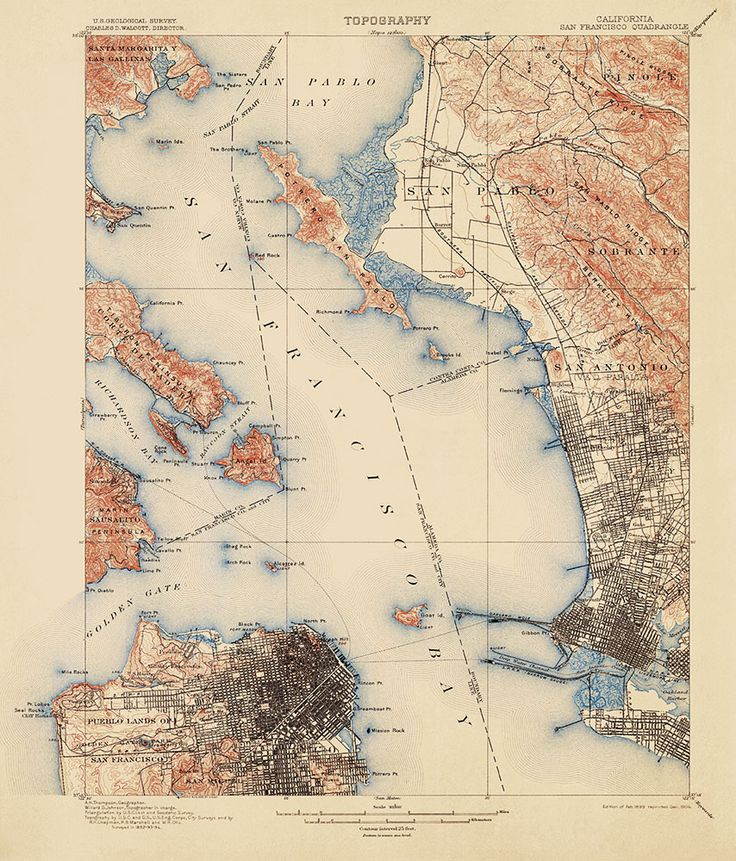 Historic USGS Topographic Map of San Francisco and the Bay Area, from 1899