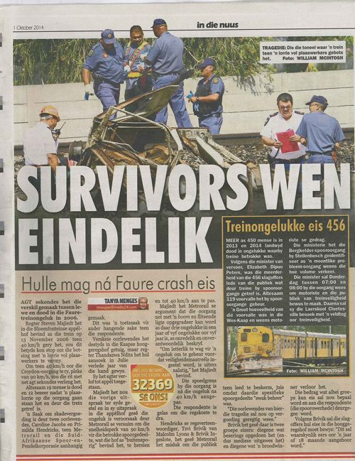 Train Accident Claims in South Africa - 'Survivors Wen Eindelike' http://www.lyonsbriviklaw.com/cases_survivorseindelik.html