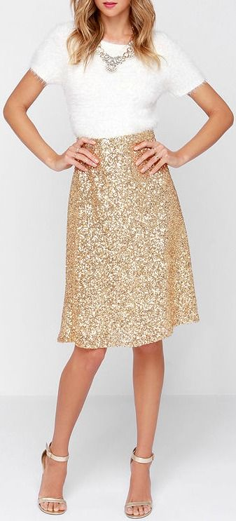 Would LOVE this in a pencil skirt cut! Stage Name Gold Sequin Midi Skirt