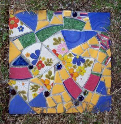Pique Assiette Mosaic Stepping Stones in the Garden | Summer House Art Blog
