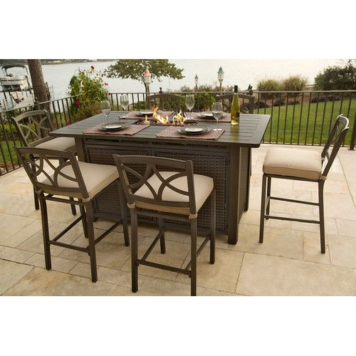 Found it at Wayfair - Davenport 5 Piece Bar Height Fire Pit Set
