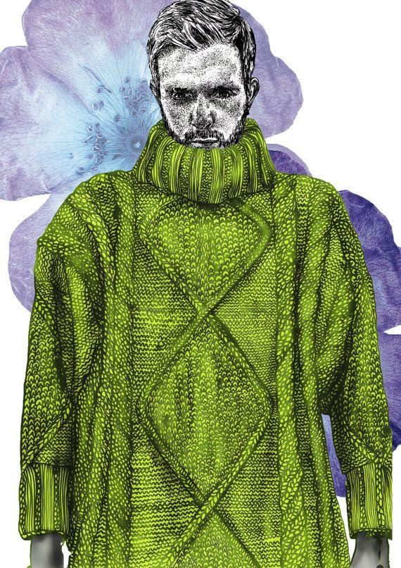 Lovely knitwear illustration by RACHEL JAMES Menswear SS15 Illustration Print https://www.etsy.com/uk/listing/192250471/rachel-james-menswear-ss15-illustration?ref=shop_home_active_3