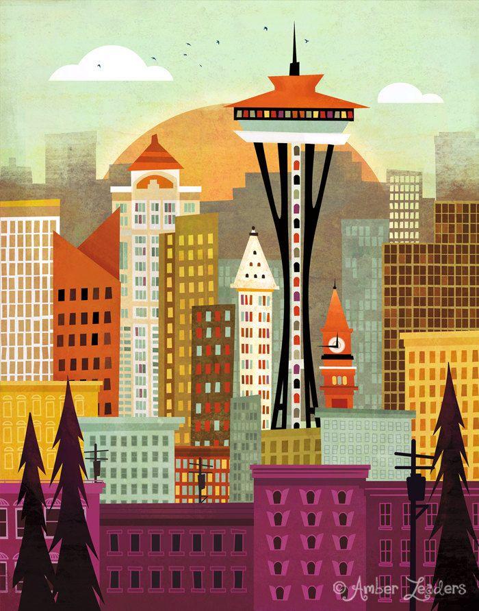 Seattle Skyline by Amber Leaders 5x7 or by AmberLeadersDesigns, $12.00