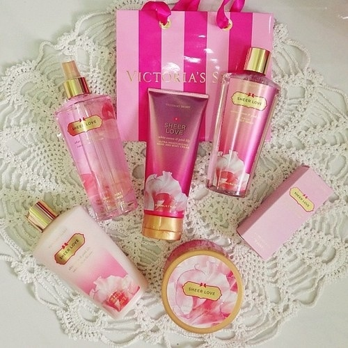 "victoria's secret ""sheer love"". This will forever be on my birthday/Xmas wish list. Can never have too much because as soon as I run out I know I will just want more"